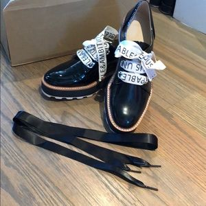 black patent leather chunky platform shoes